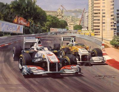 Камуи Кобаяши проходит Адриана Сутиля на Гран-при Монако 2011 - картина Michael Turner