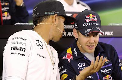 Льюис Хэмилтон и Себастьян Феттель на пресс-конференции в четверг на Гран-при Австралии 2014