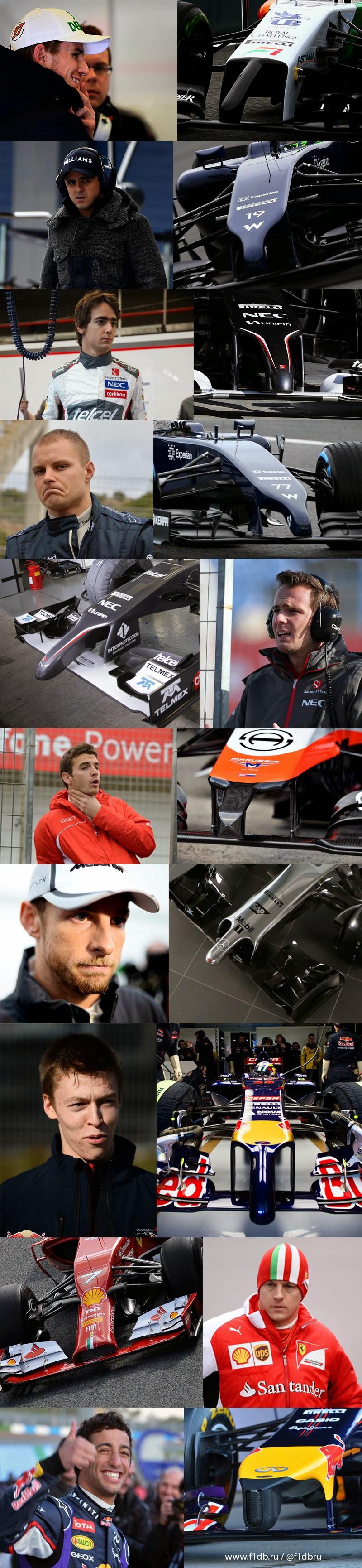 реакция пилотов Формулы-1 на новые носовые обтекатели сезона 2014