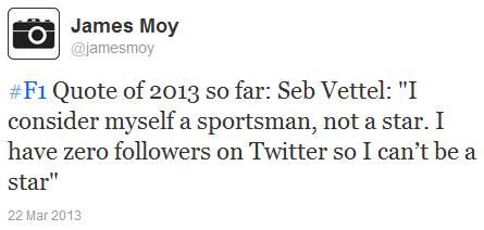 цитата Себастьяна Феттеля о фолловерах в Твиттере на Гран-при Малайзии 2013