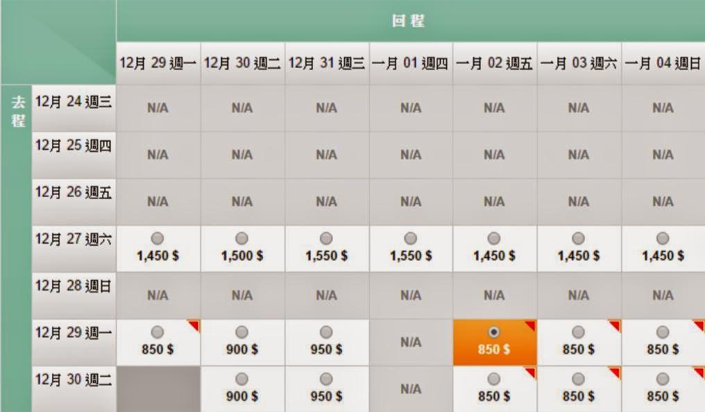 香港飛台北 12月29至30日出發 來回$850(連稅$1,392)