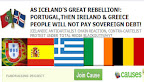 AS ICELAND'S GREAT REBELLION!: PORTUGAL,THEN IRELAND & GREECE % ESPAÑA ITAlIA BELGIQUE PEOPLE WILL NOT PAY SOVEREIGN DEBT!
