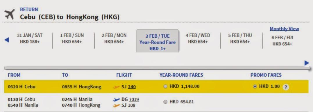 回程: 5J240 06:20 宿霧-08:55 香港