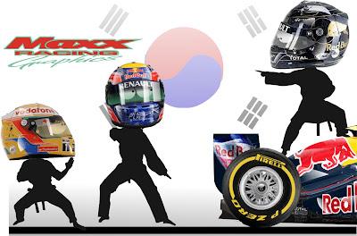 Себастьян Феттель отражает атаки Льюиса Хэмилтона и Марка Уэббера на Гран-при Кореи 2011 Maxx Racing