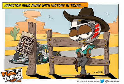 Льюис Хэмилтон уходит в бега с победой в Техасе - комикс Chris Rathbone по Гран-при США 2014