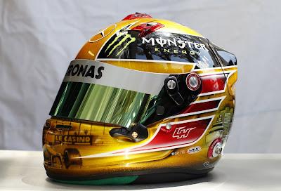 шлем Льюиса Хэмилтона с Николь Шерзингер и Роско специально для Гран-при Монако 2013