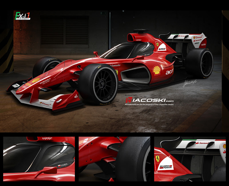 болид будущего Ferrari с закрытым кокпитом от iacoski