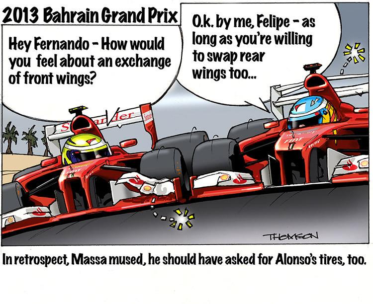 Фелипе Масса и Фернандо Алонсо на Гран-при Бахрейна 2013 - комикс Bruce Thomson