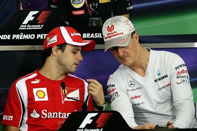 Фелипе Масса и Михаэль Шумахер на пресс-конференции в четверг на Гран-при Бразилии 2011