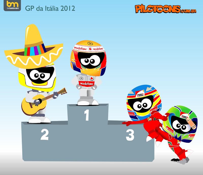 Серхио Перес Льюис Хэмилтон Фернандо Алонсо Фелипе Масса подиум Монца - pilotoons Гран-при Италии 2012