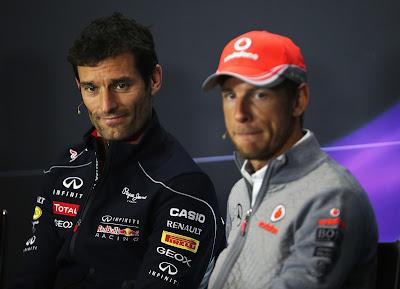 Марк Уэббер и Дженсон Баттон на пресс-конференции в четверг на Гран-при Великобритании 2013