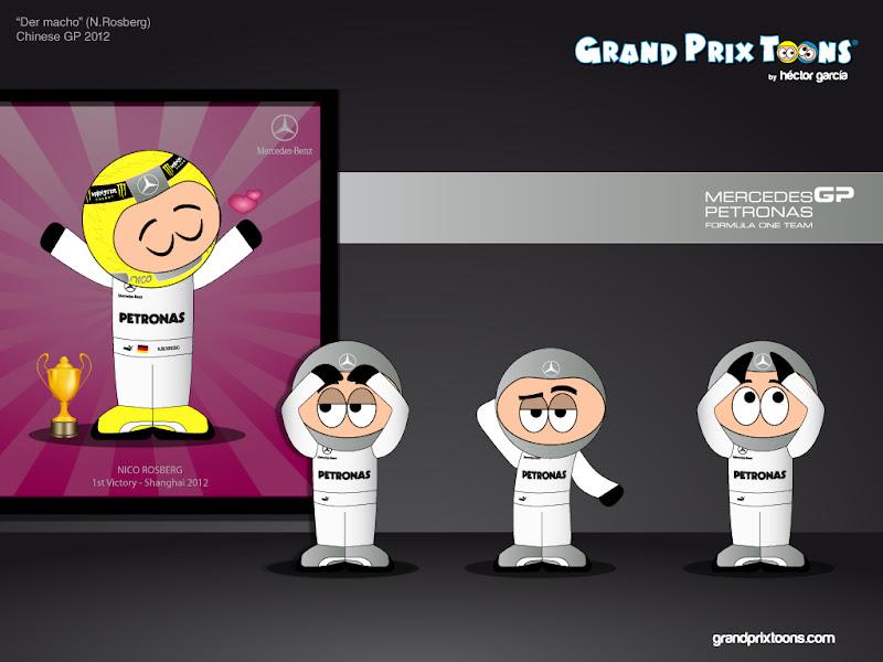 Нико Росберг Mercedes Шанхай комиксы Grand Prix Toons Гран-при Китая 2012