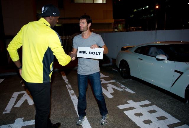 Марк Уэббер и Болт перед Гран-при Кореи 2012