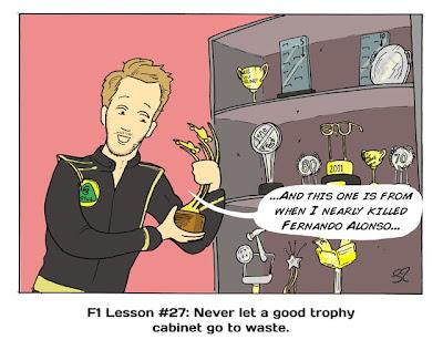 Никогда не позволяй хорошему кабинету для трофеев пустовать - комикс Stuart Taylor по Гран-при Венгрии 2013.