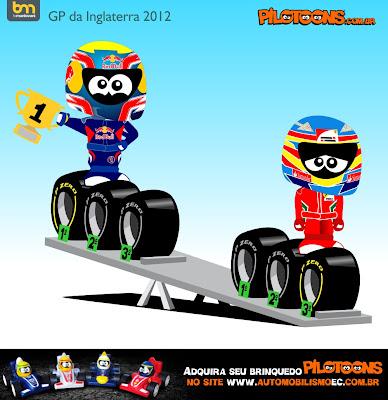 Марк Уэббер опережает Фернандо Алонсо - pilotoons по Гран-при Великобритании 2012