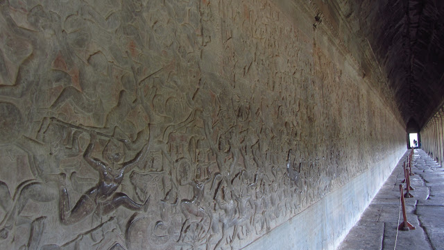 A bas-relief depicting a battle from one of the Hindu epics.