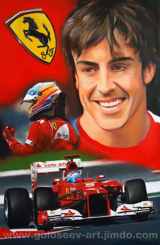 Фернандо Алонсо Ferrari F2013 - рисунок Roman Goloseev