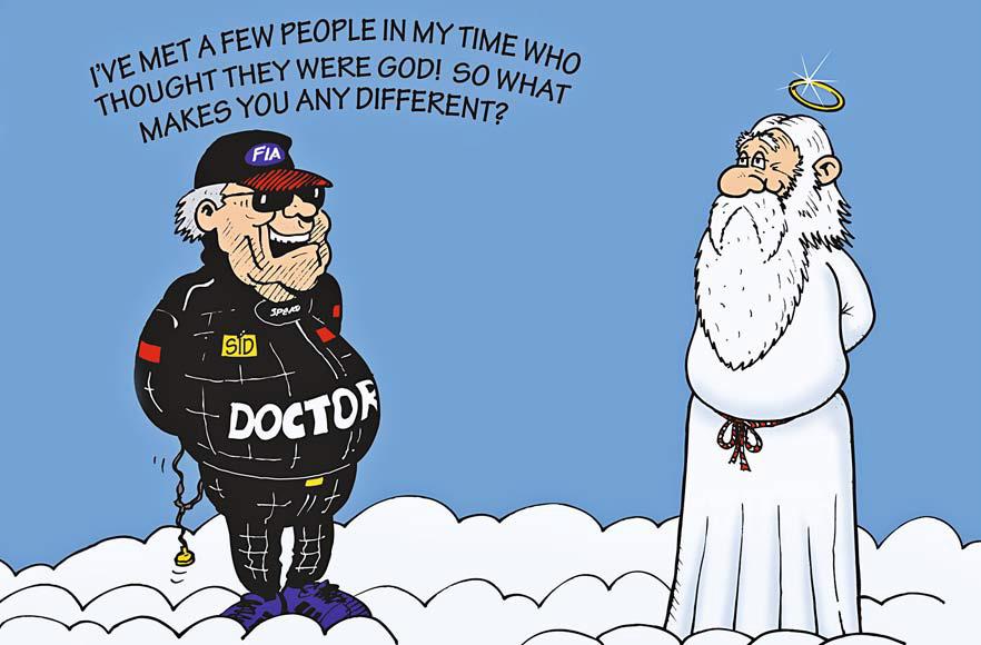 доктор Формулы-1 Сид Уоткинс встречает бога - комикс Jim Bamber