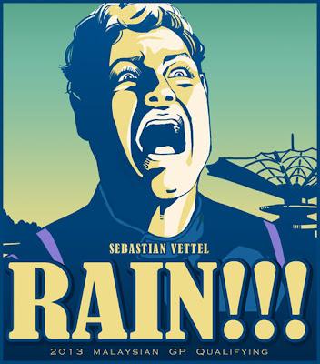 Себастьян Феттель доволен появлению дождя во время квалификации на Гран-при Малайзии 2013 - комикс