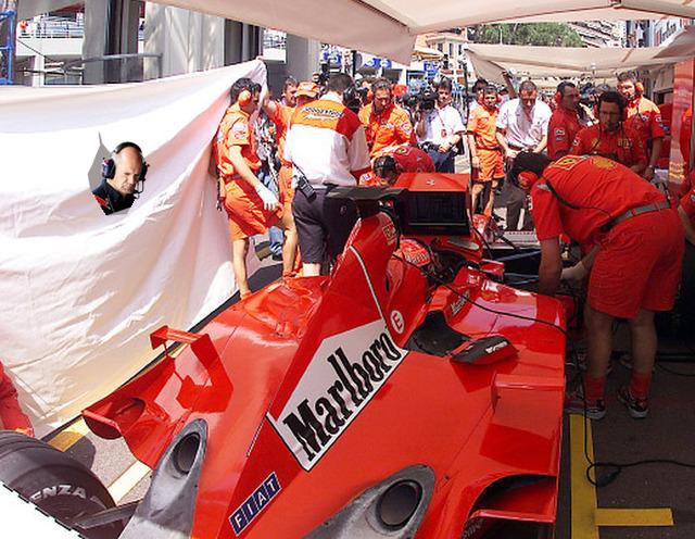 фотошоп Эдриан Ньюи наблюдает за Ferrari Михаэля Шумахера by pinnacle racing