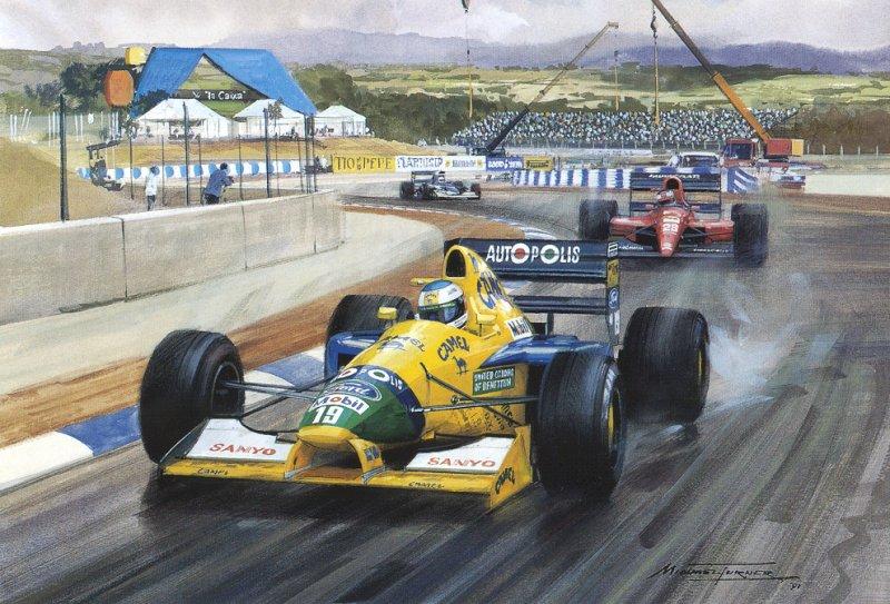 Михаэль Шумахер на Benetton впереди Жана Алези на Ferrari на Гран-при Испании 1991 - картина Michael Turner