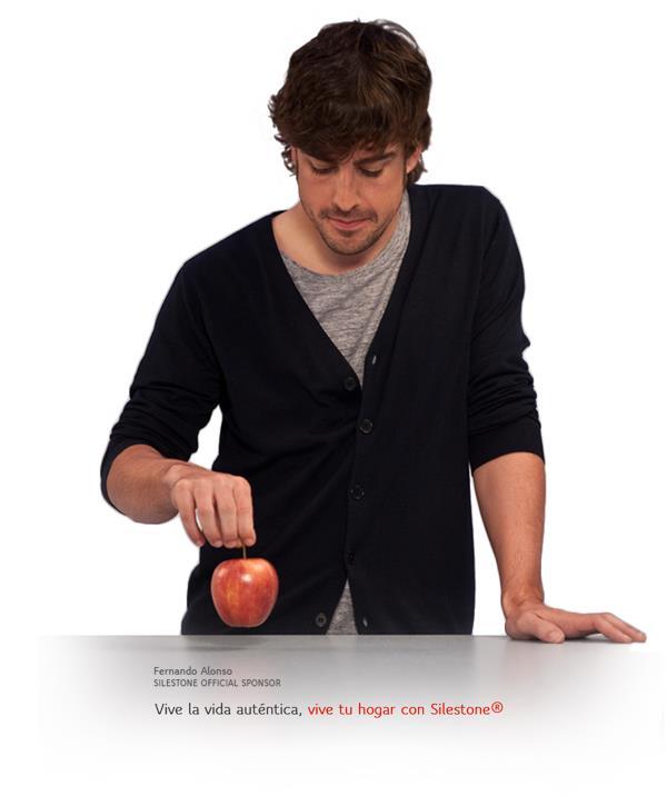 Фернандо Алонсо в рекламе Silestone с яболоком