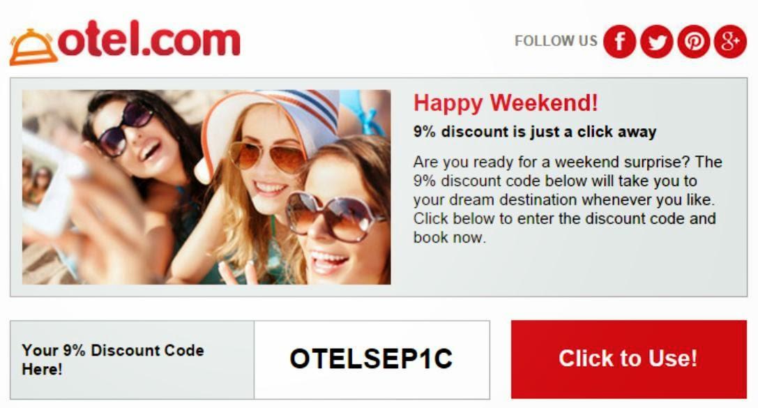 Otel.com 最新9.1折優惠碼,9月8日前適用。