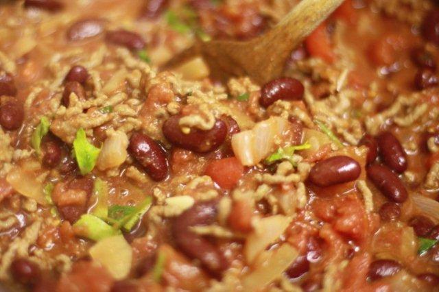 Chili con carne en olla