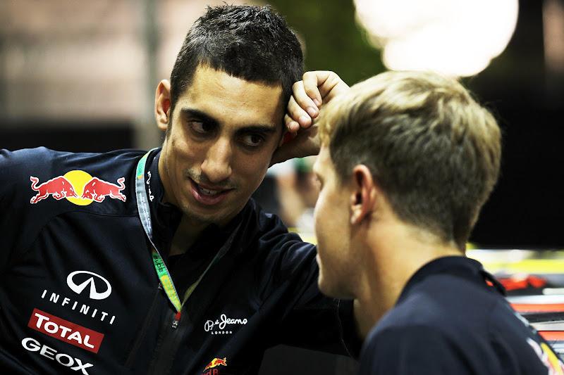 Себастьян Буэми и Себастьян Феттель на Гран-при Сингапура 2012