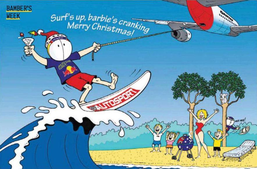 журнал Autosport поздравляет с Рождеством - комикс Jim Bamber