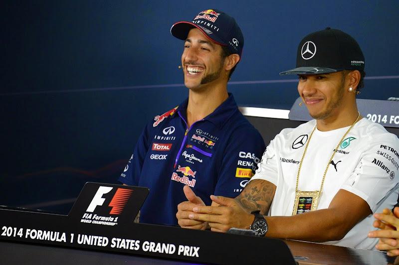 Даниэль Риккардо и Льюис Хэмилтон на пресс-конференции в четверг на Гран-при США 2014
