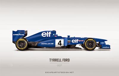 современный болид в раскраске Tyrrell 007 - Escape Artist Design