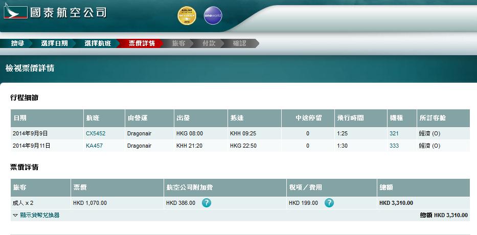 國泰港龍-台北、高雄2人同行優惠,來回連稅$1,539起,仲可以Open Jaw!