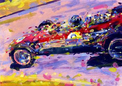 Мистер Монако Грэм Хилл за рулем Lotus - рисунок Rob Ijbema