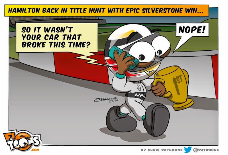Льюис Хэмилтон побеждает в Сильверстоуне - комикс Chris Rathbone по Гран-при Великобритании 2014