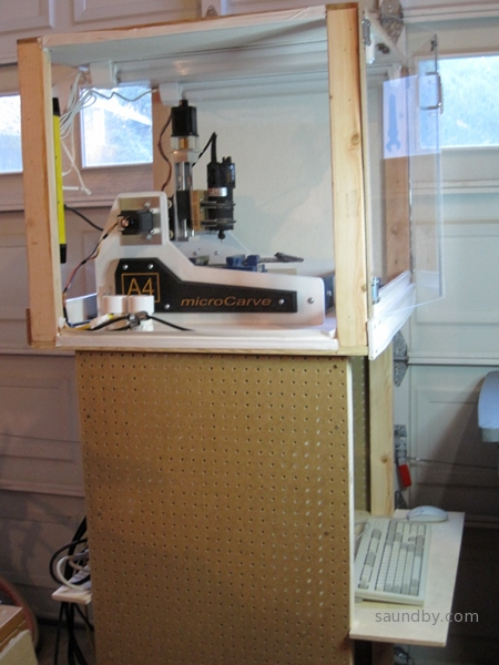 Another view of the enclosure, and all-in-one roller unit that has the CNC and all of its related electronics in a thirty inch wide unit.