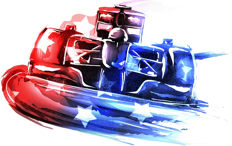 арт болида с американским флагом