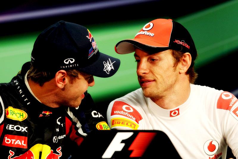 Себастьян Феттель и Дженсон Баттон на пресс-конференции на Гран-при Монако 2011