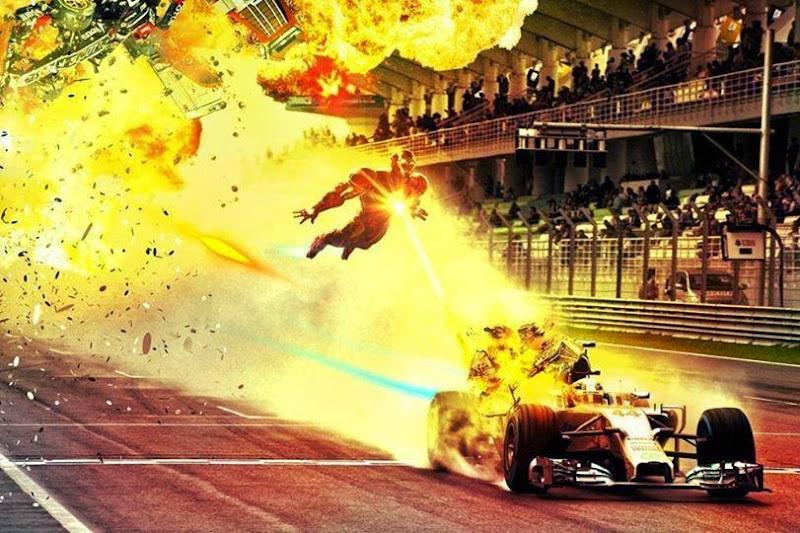 Железный Человек преследует Льюиса Хэмилтона на Mercedes - фотошоп 2014