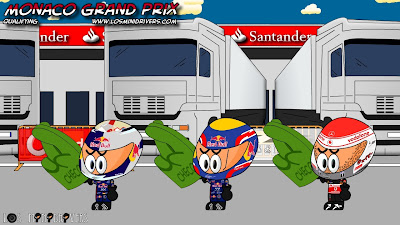 победители квалификации на Гран-при Монако 2011 скрещивают пальцы за попавшего в аварию Серхио Переса Los MiniDrivers