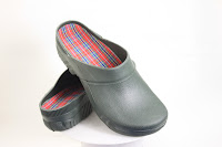 Conventional slippers with moulded-on rubber soles and grey-green microfibre uppers