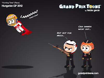 Льюис Хэмилтон улетает от Ромэна Грожана и Кими Райкконена в гонке на Гран-при Венгрии 2012 - комикс Grand Prix Toons
