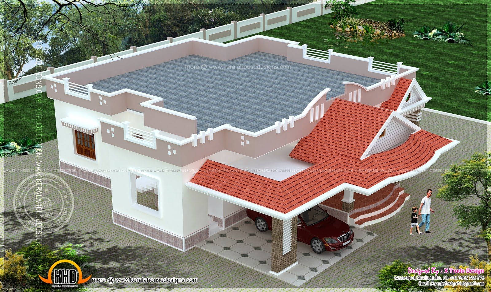 Top Floor Elevation : Single storied bedroom house elevation kerala home