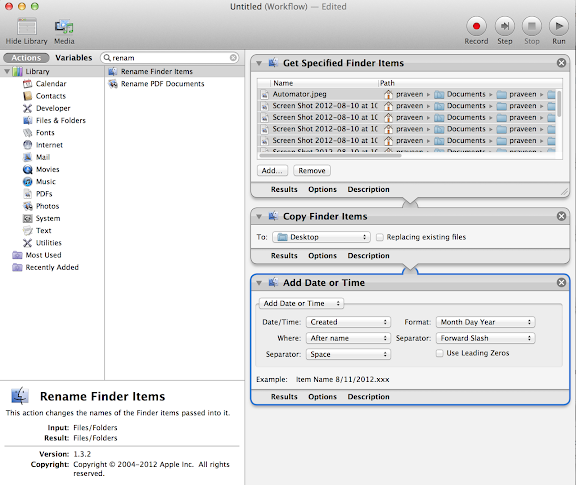 Batch renaming files Automator