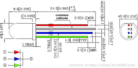 LED RGB 5mm Pin-out Diagram