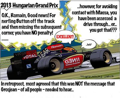 Ромэн Грожан получает проезд по пит-лейну на Гран-при Венгрии 2013 - комикс Bruce Thomson