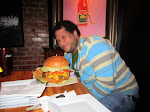 @tweetsfromchris takes on Nicky Rotten's 2.5 lbs. burger challenge (with a gigantic side of fries)