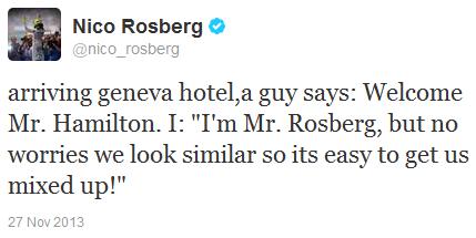 Нико Росберга путают с Льюисом Хэмилтоном в женевском отеле