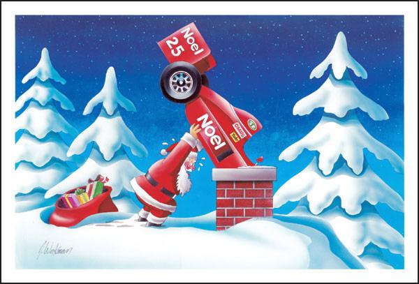Санта заталкивает свой болид в трубу