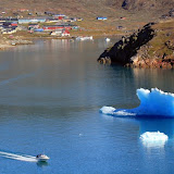 A Little Town, A Tiny Boat, and A Big Iceberg -- Scenic Greenland